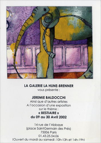 Exposition collective: Galerie La Hune – Brenner – Paris du 09 au 30 Avril 2002
