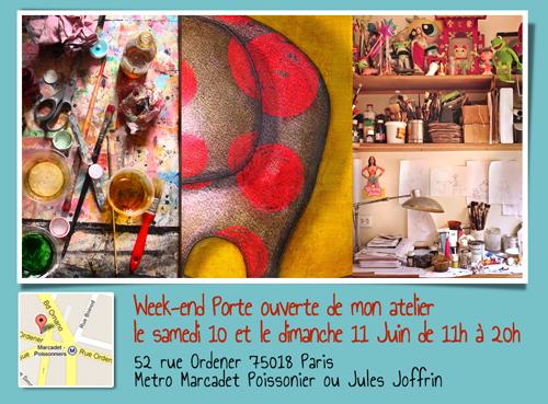 Exposition personnelle: Portes ouvertes de mon atelier 2017 – Paris les 10 et 11 Juin 2017