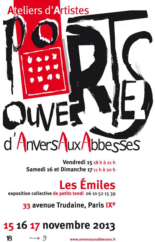 Exposition personnelle: Portes ouvertes ateliers d'Abbess – Paris les 16 et 17 Novembre 2013