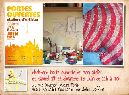 Exposition personnelle: Portes ouvertes ateliers de la Goutte d'Or 2014- Paris les 14 et 15 Juin 2014