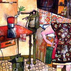 Peinture:Le vendeur de robot
