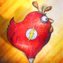 Peinture:Poule super héro