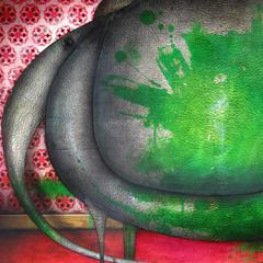 Peinture: Éléphant peint vert