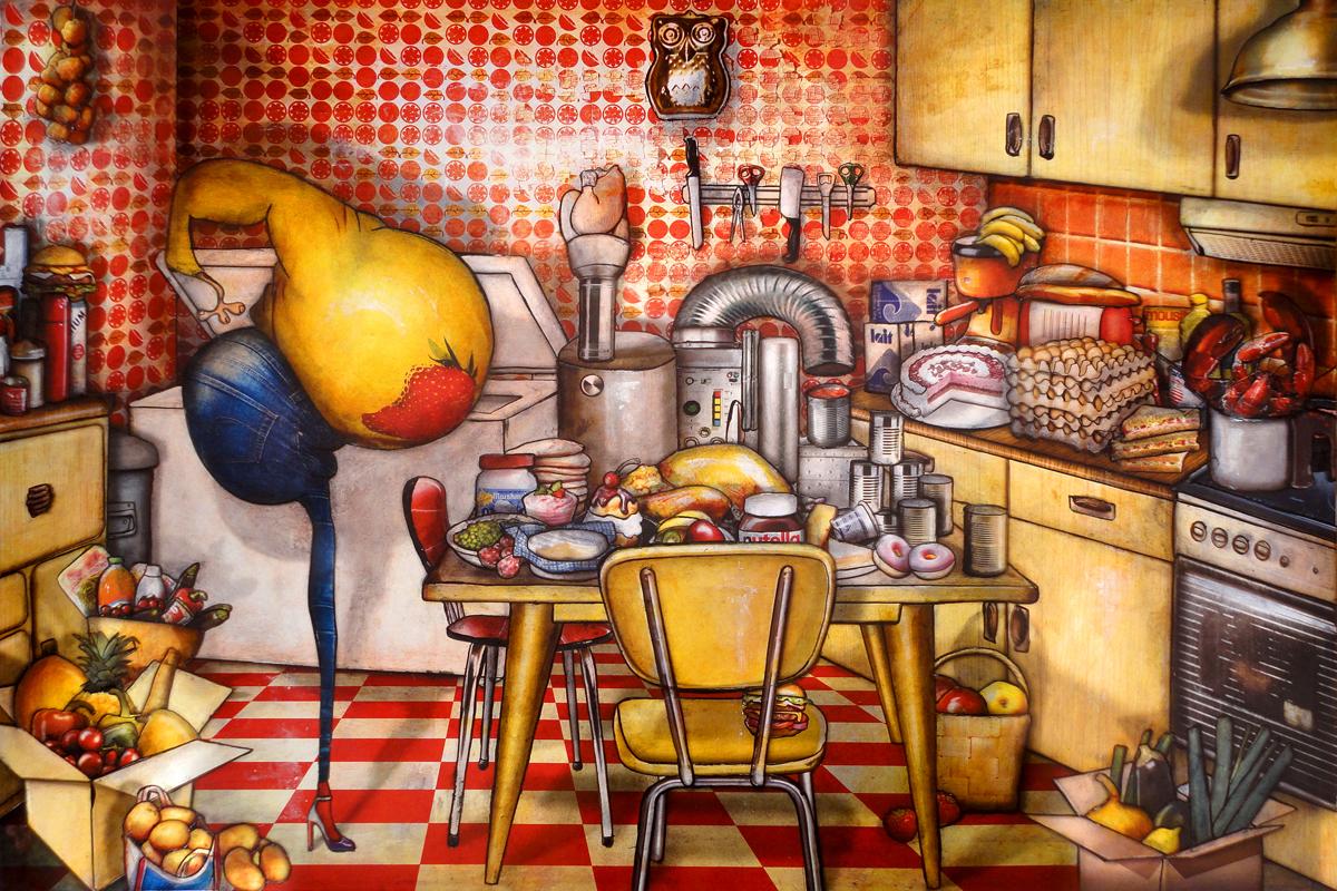 Peinture la machine faire des conserves de jeremie baldocchi artiste peintre contemporain for Peinture acrylique pour cuisine