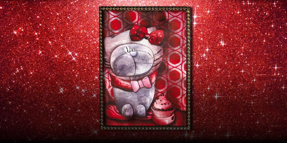 Tableau: Chat déguisé en Hello Kitty