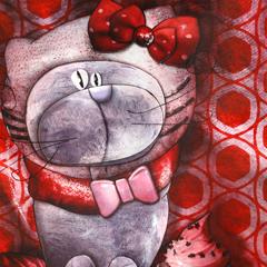 Peinture:Chat déguisé en Hello Kitty