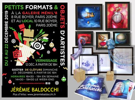 Exposition collective: Exposition collective de petits format à la Galerie Ménil'8 – Paris du 6 au 22 Décembre 2019