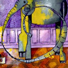 Peinture:Elephant peint (violet)