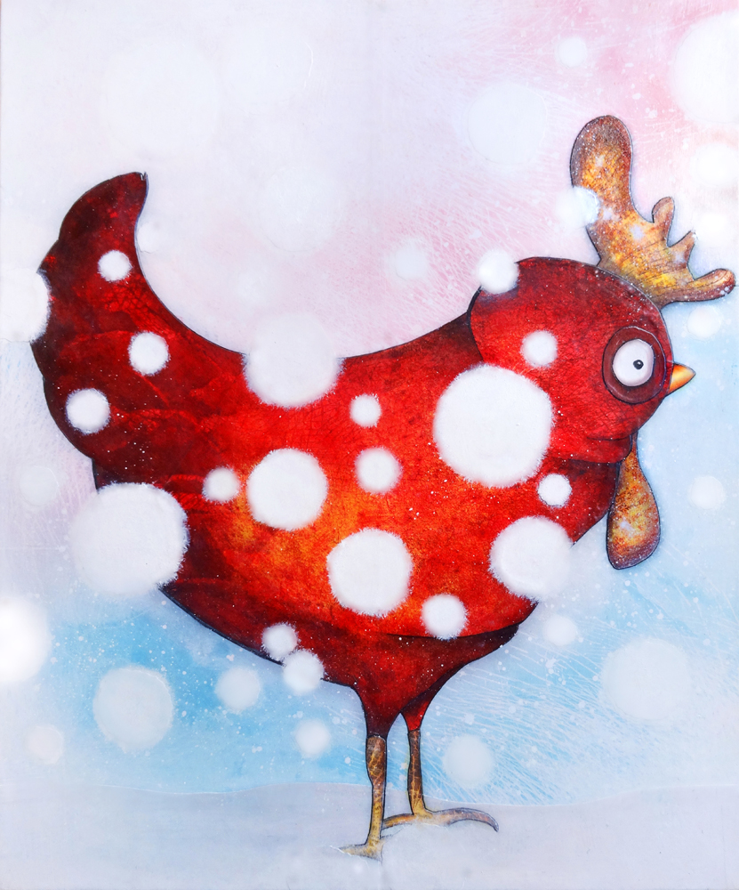 Tableau: Poule enneigée