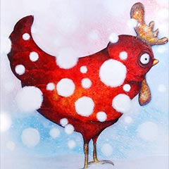 Peinture:Poule enneigée