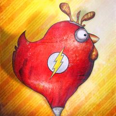 Peinture: Poule super héro