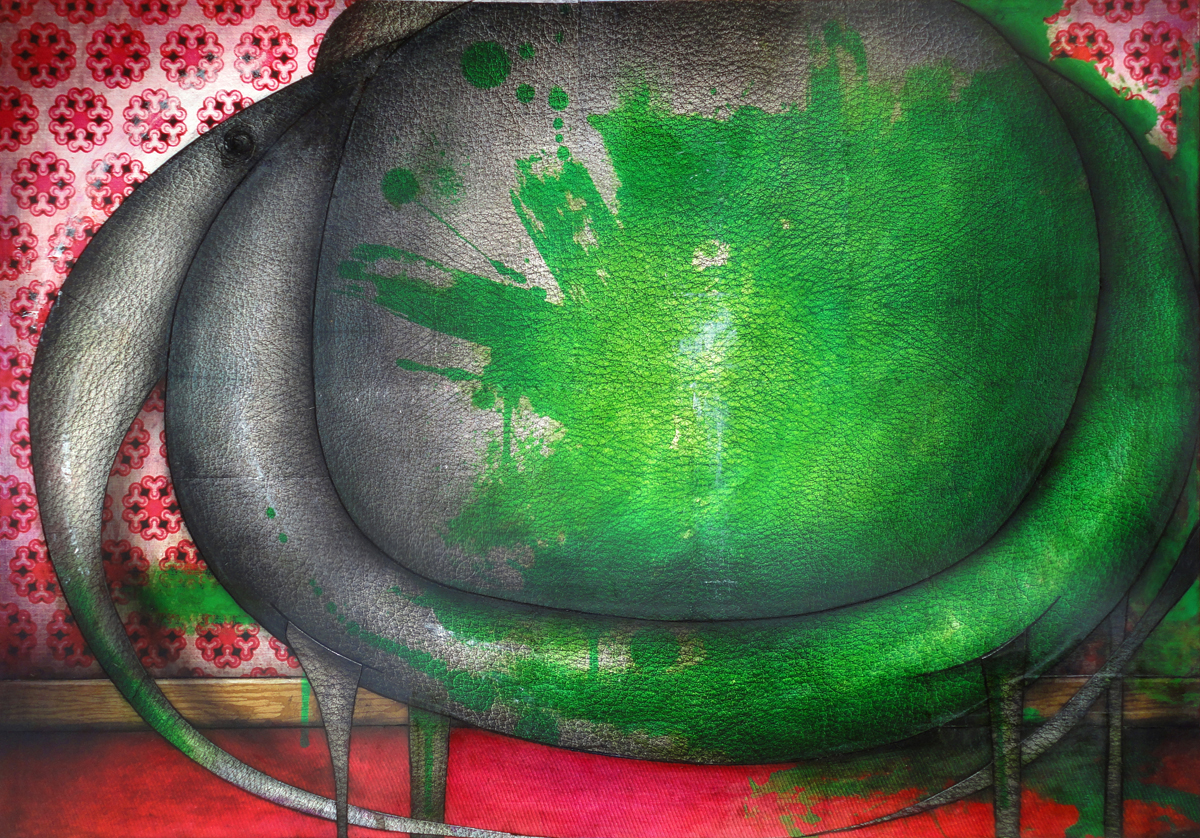 Tableau: Éléphant peint vert