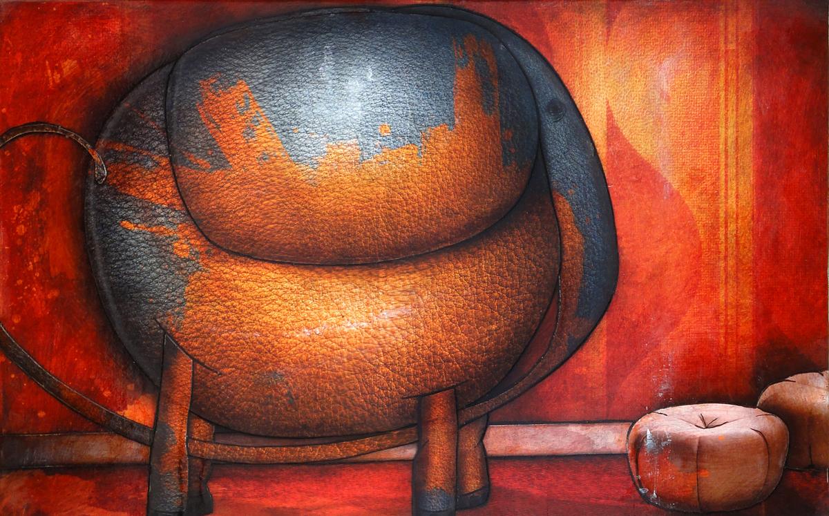 Tableau: Éléphant peint orange