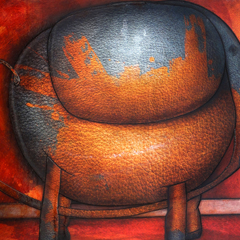 Peinture: Éléphant peint orange