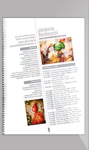 CV artistique de l'artiste peintre Jeremie Baldocchi en Espagnol au format PDF